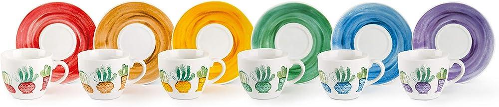 Excelsa cactus,  set da 6 tazzine da caffè con piattino, in porcellana 62373