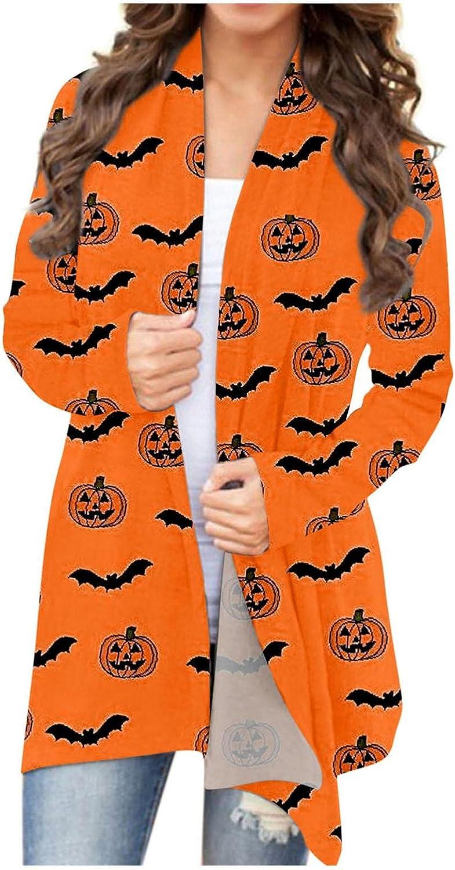 MASZONE Womens Halloween Cute Pumpkin Black Cat Bat Long Sleeve Open Front Cardigan Sweatshirt Coat