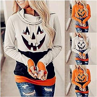 NOBOOK+H 【US Stock】 Halloween Women`s Long Sleeve Funny Pumpkin Skeleton Hoodies Happy Halloween T Shirt Pumpkin Soul Ghos...