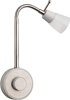 SEBSON® LED Stopcontact Lamp Dimbaar Zilver, Wandlamp met Stekker 2W, Stekkerlamp Flexibel Warm Wit 2700K - Leeslamp, Nach...
