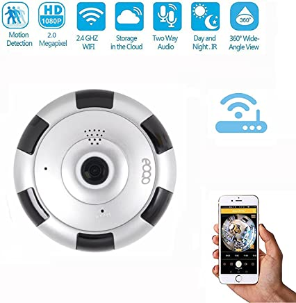 eoqo Cámara De Seguridad WiFi IP 360° Panorámica, Lente Fish Eye para iPhone y Android, Monitor de Bebé, Visión Nocturna, Detección de Movimiento, Monitoreo Remoto en Tiempo Real, para Casa y Oficina