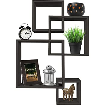 Greenco 4 Cube Intersecting Wall Mounted Floating Shelves Espresso Finish