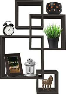 Greenco 4 Cube Intersecting Wall Mounted Floating Shelves Espresso Finish,
