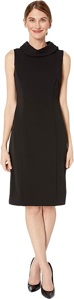Petite Sleeveless Stretch Crepe Sheath Dress with Envelope Collar