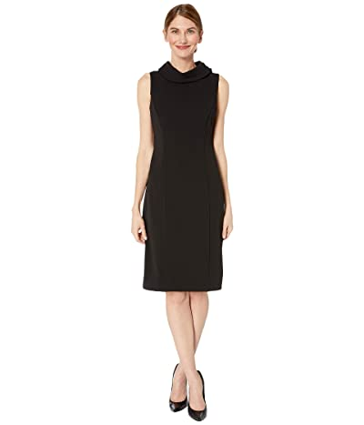 Tahari by ASL Petite Sleeveless Stretch Crepe Sheath Dress with Envelope Collar (Black) Women