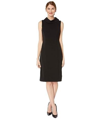 Tahari by ASL Petite Sleeveless Stretch Crepe Sheath Dress with Envelope Collar (Black) Women