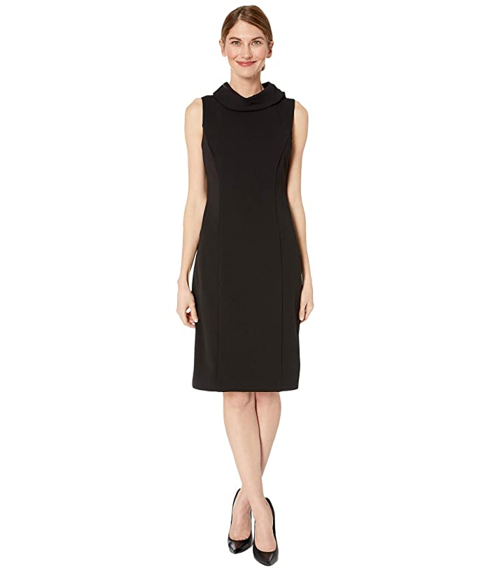 Tahari by ASL  Petite Sleeveless Stretch Crepe Sheath Dress with Envelope Collar (Black) Womens Dress
