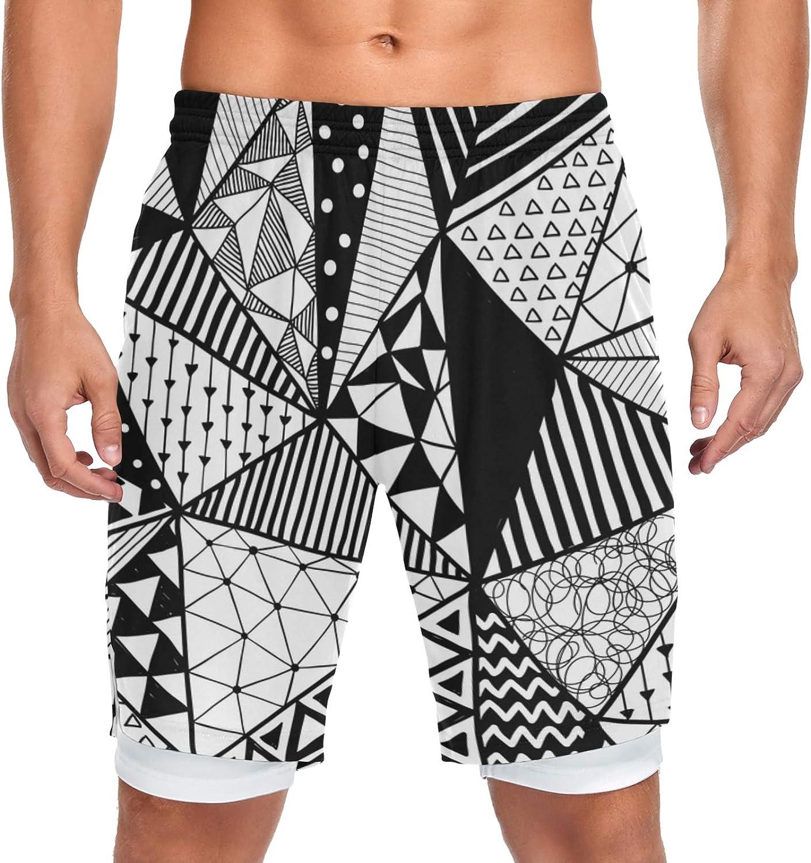 JIUCHUAN 35% supreme OFF Running Shorts Black White Men Doodle Training Pattern