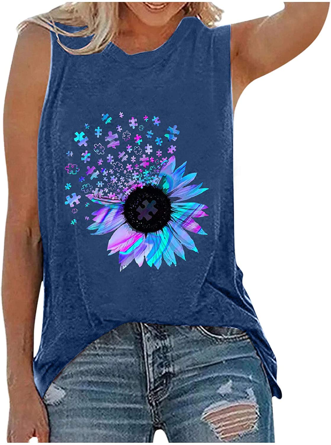AODONG Tank Tops for Women, Womens Funny Printed Graphic T Shirts Sleeveless Tanks Summer Casual Loose Vacation Vest Tee