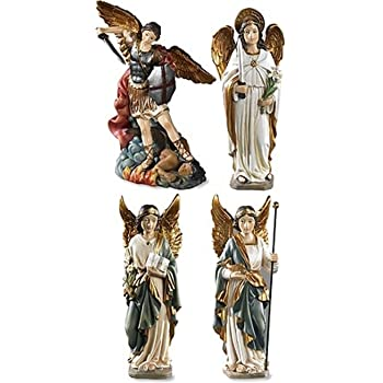 Archangel Saint St Michael Gabriel Uriel Raphael Figurines 4 Piece Statue SET Chapel Decoration