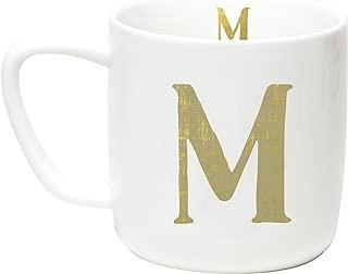 C.R. Gibson 12 ounce Porecelain Monogram Mug, Exterior & Interior Accented With Metallic Gold - M