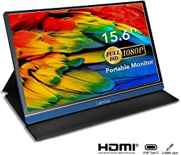 Portable Monitor - Lepow 15.6 inch USB C Powered Display 1080P IPS LCD Computer Screen for Laptop PC Mac Phone XBOX Switch PS4 Slim Light for Travel Work Game Include Smart Cover Screen Protector Blue