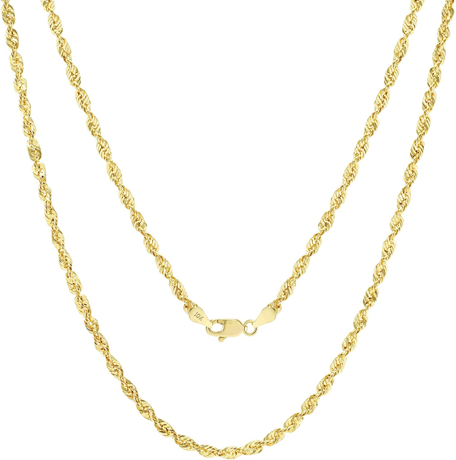 Nuragold 10k Yellow Gold 3mm Diamond Cut Rope Chain Pendant Necklace, Mens Womens Lobster Lock 16