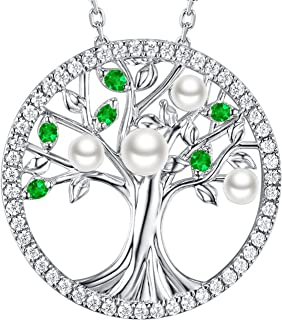 White Pearl Green Emerald Jewelry Tree of Life Pendant Necklace for Women Teen Girls Love Family Birthday Gifts Sterling Silver