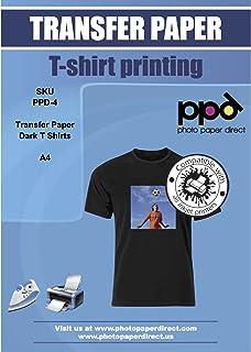 PPD 5 Feuilles x A4 Papier Transfert Tee-Shirt / Textiles Noirs ou Foncés, Personnalisable, Thermocollant, Impression Jet ...
