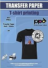PPD Papel de Transferencia para camisetas oscuras para impresión con inyección de tinta A4 X 10 hojas PPD-4-10