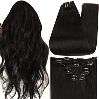 """Full Shine 24"""" 9 Pieces 120gram Color 1B Off Black Clip in 24 inch Human Hair Extensions Real Hair Clip on Hair Weave for ..."""