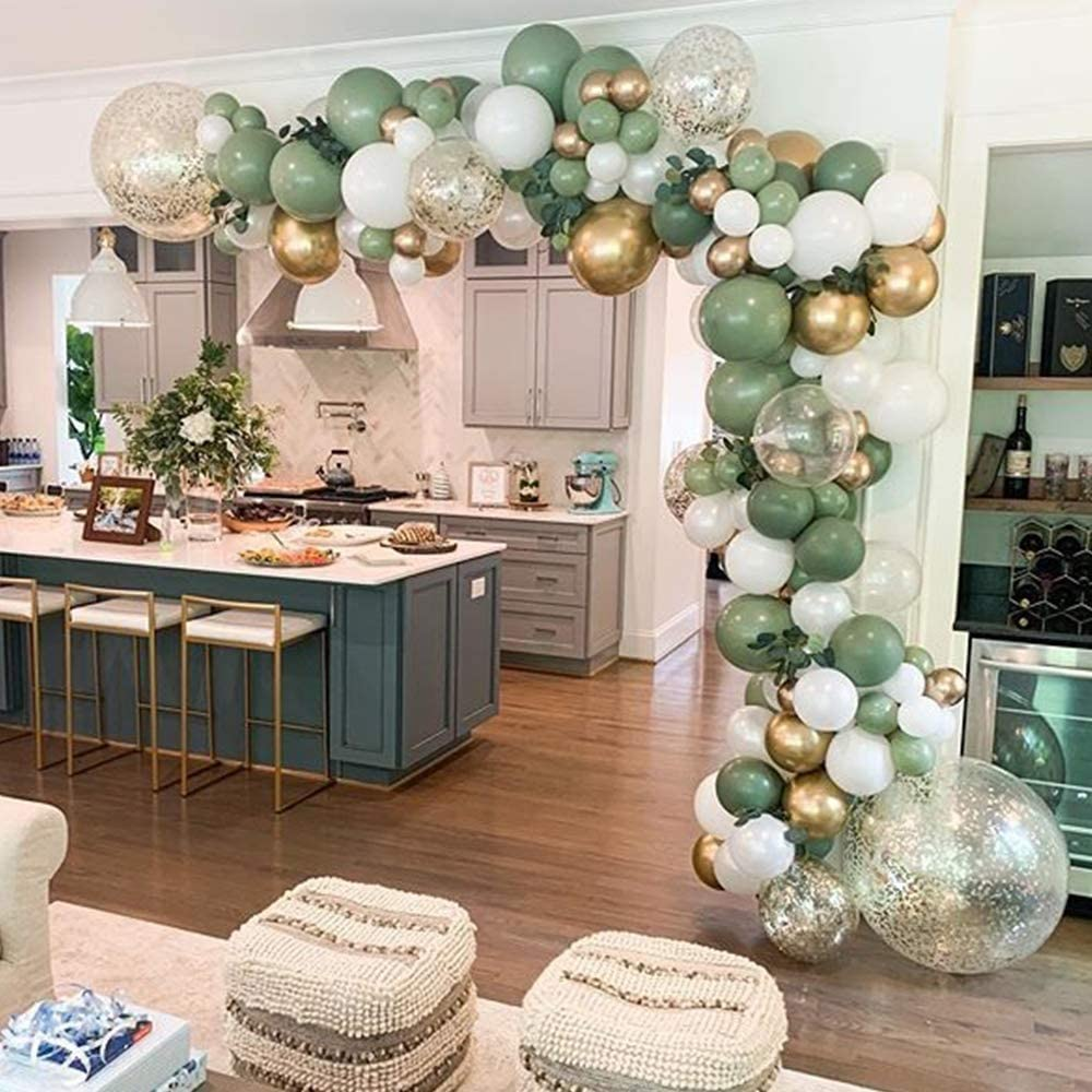 Sage Olive Green Balloon Garland Arch Kit – 121pcs Olive Green, White, Metallic Chrome Gold Balloons for Baby and Bridal Shower, Birthday Party, Wedding, Grad, Anniversary Party