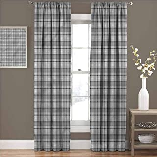 GUUVOR Plaid for Bedroom Blackout Curtains British Tartan Arrangement Blackout Curtains for The Living Room W84 x L108 Inch