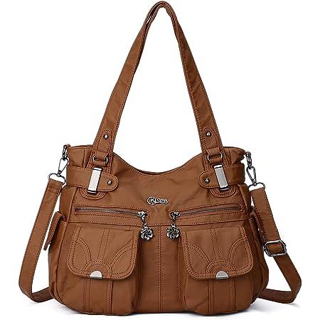 KL928 Tasche Damen Handtasche Umhängetaschen Damenhandtasche Schultertasche Lederhandtasche elegante Taschen hand taschen Henkeltaschen für frauen mit vielen fächern (Braun)