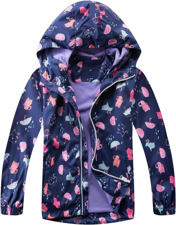 Happy Cherry Boys Girls Rain Jacket Hooded Waterproof Raincoats Lightweight Outdoor Windbreaker for Camping Hiking