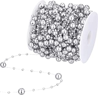 99 Feet Christmas Tree Beads Artificial Pearls Beads Garland Chain Plastic Bead Roll for DIY Christmas Wedding Decoration(Silver)