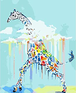 Beitly Paint by Numbers for Adults Kids Ages 8-12 Abstract Giraffe DIY Oil Painting Canvas with Acrylic Pigment Easy Paint...
