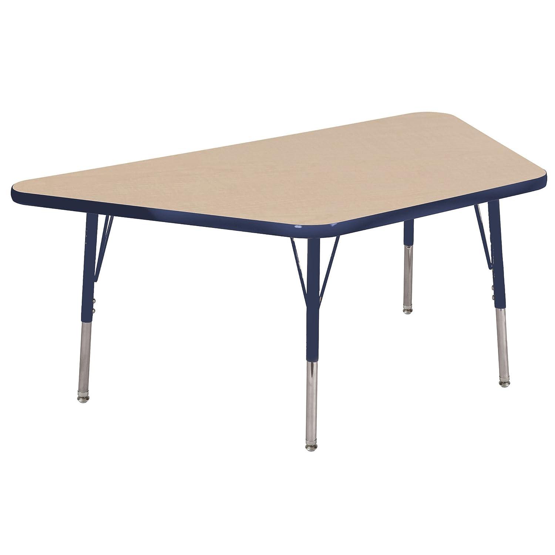 Adjustable Height 19-30 inch Maple//Yellow//Sand ECR4Kids Mesa Premium 30 x 60 Trapezoid School Activity Table Standard Legs w// Ball Glides