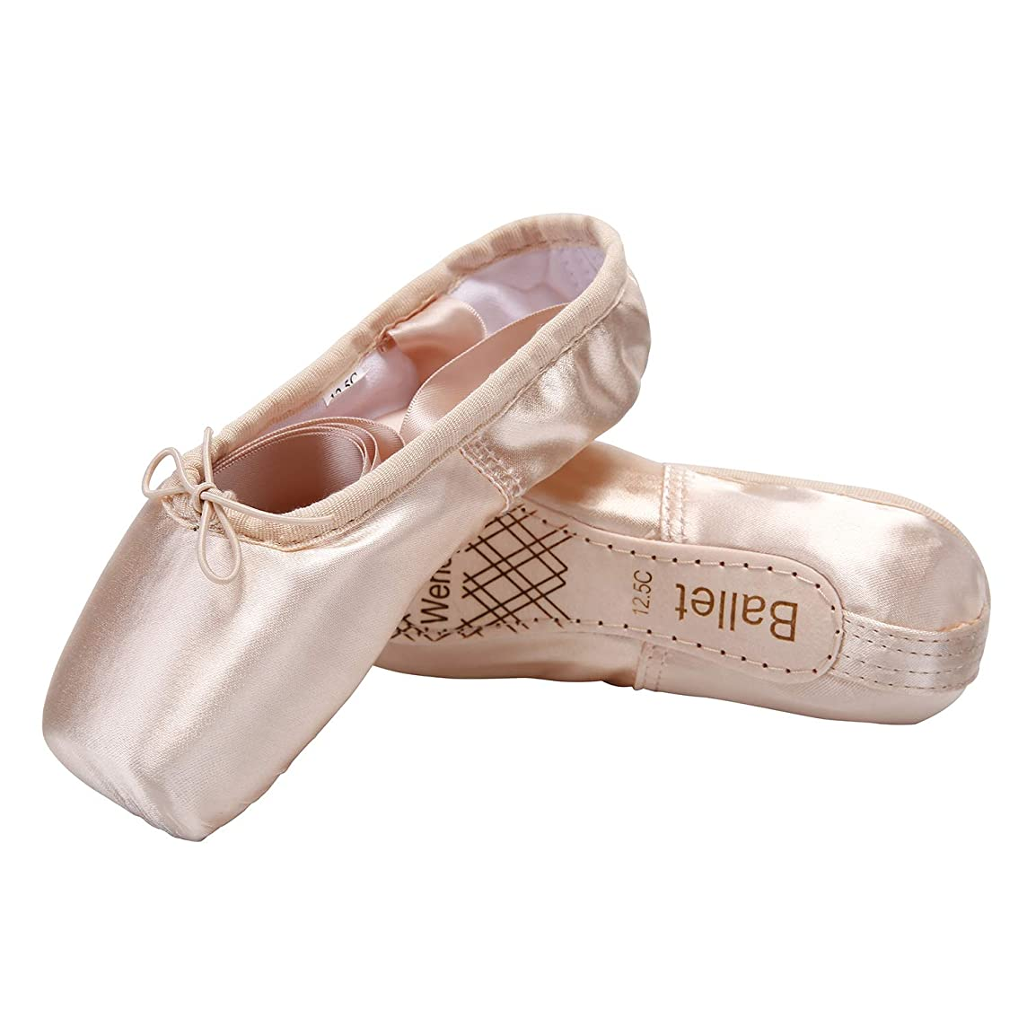 Wendy Wu Girls Womens Dance Shoe Pink Ballet Pointe Slippers Ballet Flats Shoes with Ribbons Toe Pads Black Pink Red