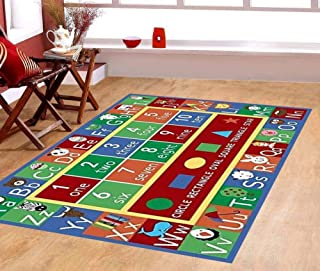 """Furnish my Place 4'4 X 6'9 755 Shape 5X7 Kids ABC Alphabet Numbers Educational Non Skid Rug, 4'5""""X6'9"""", Multi/Color"""