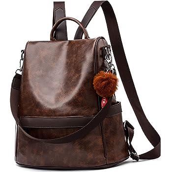 Lantch Damen Rucksack Handtasche Leder Pu Umhangetasche Backpack Schultertasche Anti Diebstahl Tasche Wasserdichte Nylon Schulrucksack C Pu Braun Amazon De Koffer Rucksacke Taschen