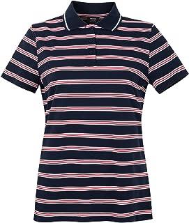 MOHEEN Women's Short Sleeve Striped Cotton Golf Polo Moisture Wicking Pique Polo Shirt