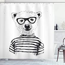Ambesonne Animal Shower Curtain, Dressed up Hipster Nerd Smart Male Bear in Glasses Fun Character Animal Art Print, Cloth Fabric Bathroom Decor Set with Hooks, 75 Long, White Black