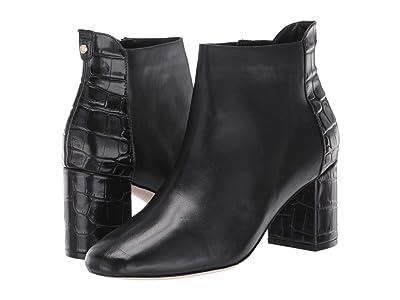 Cole Haan Nella Bootie 65 mm (Black Leather/Black Croc Print) Women