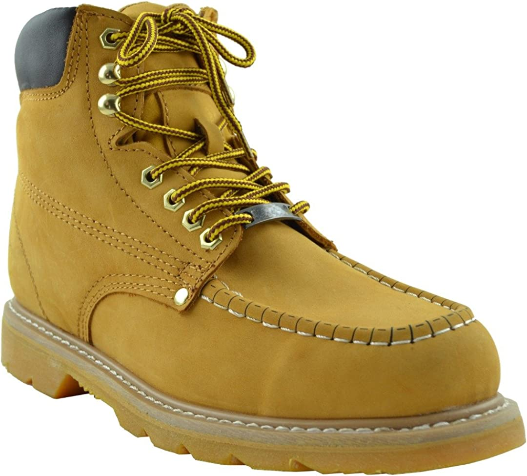 Eagle Men's Boots Oil Resistant Stitched Leather Work Hiking Padded Shoes Tan
