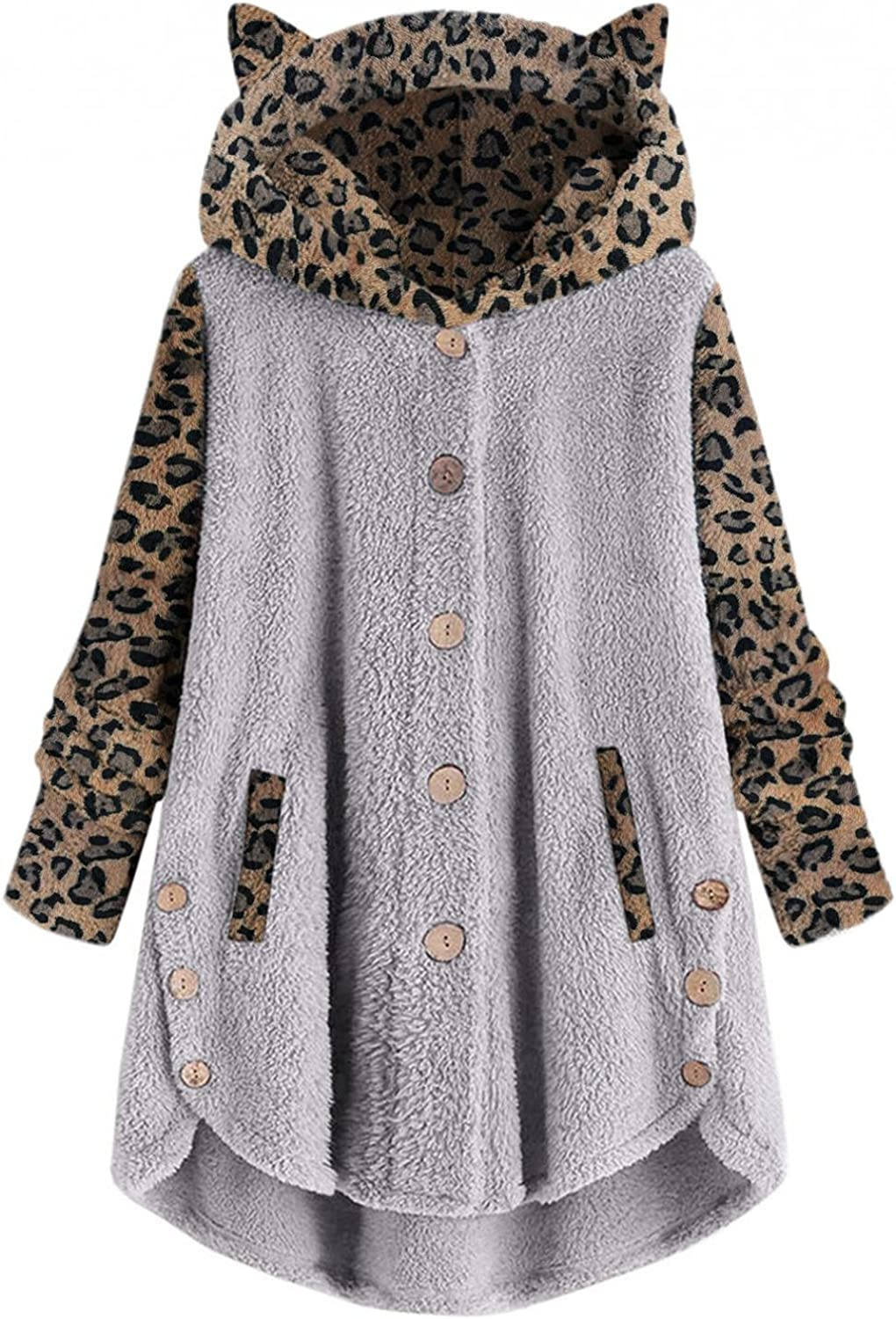 Evangelia.YM lowest Don't miss the campaign price Womens Plush Cardigan Coat Button for Leopard Women