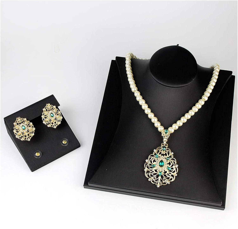 DSJTCH Gold Color Arabic Necklace Earring Cuff Bracelet Women Ethnic Wedding Jewelry Sets Morocco Caftan Accessories (Metal Color : Gj001GREEN)