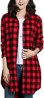 Women's Casual Mid-Long Boyfriend Long Sleeve Loose Button Down Plaid Shirt