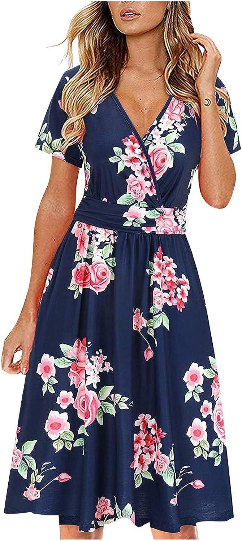 JPLZi Women's Summer Short Sleeve V-Neck Floral Short Party Dress with Pockets