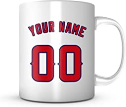 Customize Mug - Los Angeles Baseball Jersey Back Your Name & Number Red/Navy Blue 11 oz Coffee Cup