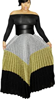 Women Metallic Color Block Ribbed Shiny Shimmer A Line Pleated Maxi Long Skirt