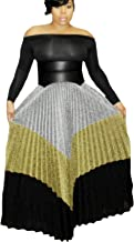Speedle Women Metallic Color Block Ribbed Shiny Shimmer A Line Pleated Maxi Long Skirt