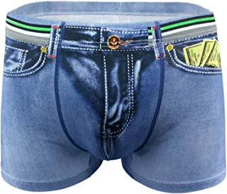 Soluo Men Sexy Underwear 3D Cowboy Printed Boxer Brief Convex Bulge Shorts Fake Jean Cotton Briefs