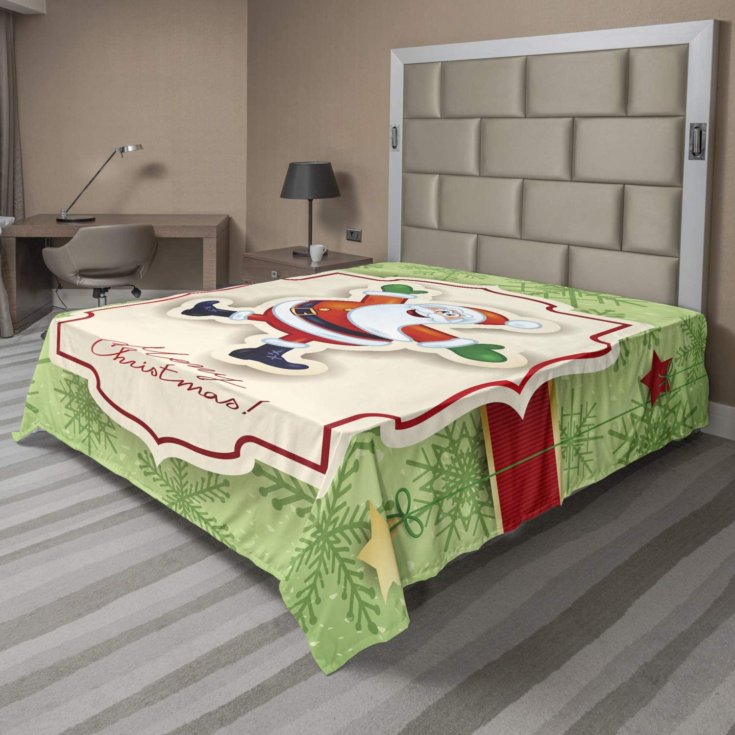Ambesonne Christmas Sale price Flat Sheet Funny Themed Xmas Ornam Limited Special Price on Santa