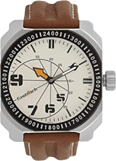 Fastrack Men's White Dial Leather Band Watch - 3083SL01