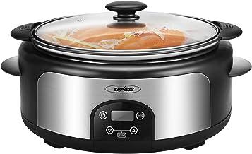 6-Quart Crock Pot & Digital Programmable Slow Cooker with Locking Lid, Nonstick Oval Pot Delay Timer, 3 Temperature, 8 Pre...