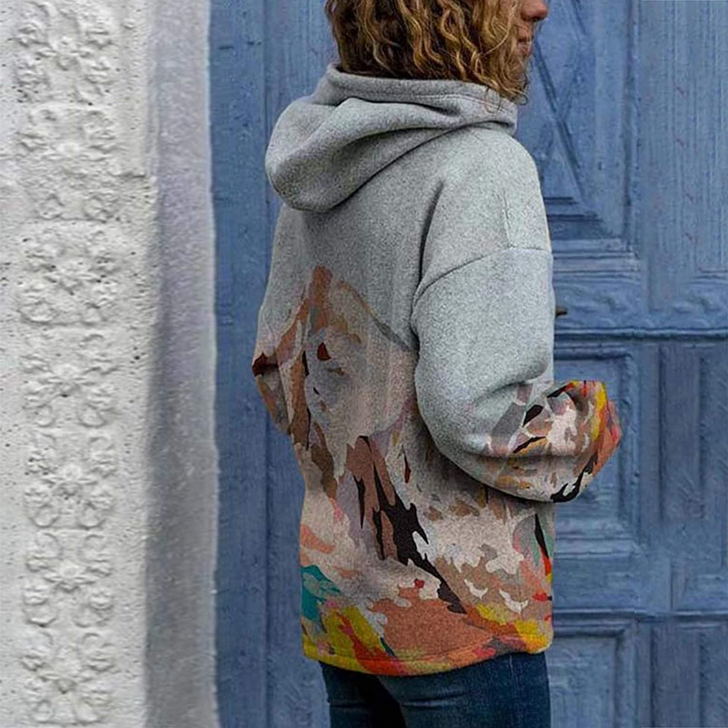POTO Hoodie Sweatshirt for Women 3D Graphic Printed Hooded Sweaters Landscape Pattern Lightweight Pullover Tops