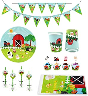 74 Piece Farm Animals Pig Cow Sheep Tractor Theme Party Supplies, Kids Birthday Party Decoration Tableware Pack, Including Banner, Plate, Cup, Straw, Cupcake Deco, Table cover, Serves 12