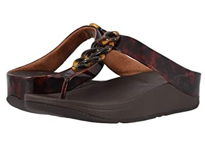 FitFlop Fino Tortoise Shell Chain (Chocolate Brown Turtle/Chocolate Brown) Women