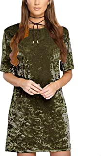 Women's Summer Short Sleeve Crushed Velvet Mini Short Dresses